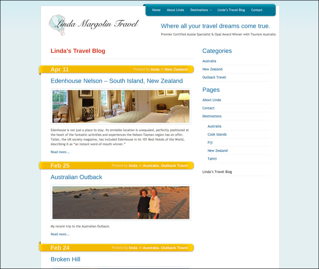 LInda Margolin Travel Blog